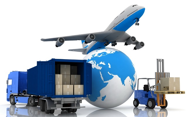 airliner with a globe and autoloader with boxes in a container